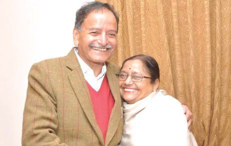 Krishna Sitaula with his wife Kabita Sitaula.